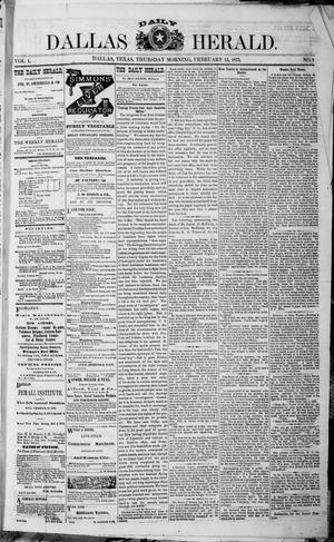 Primary view of object titled 'Dallas Daily Herald (Dallas, Tex.), Vol. 1, No. 3, Ed. 1 Thursday, February 13, 1873'.
