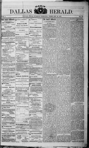Primary view of object titled 'Dallas Daily Herald (Dallas, Tex.), Vol. 1, No. 13, Ed. 1 Tuesday, February 25, 1873'.