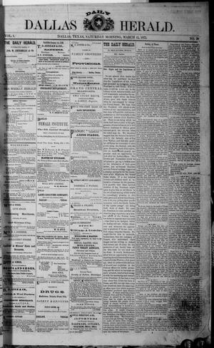 Dallas Daily Herald (Dallas, Tex.), Vol. 1, No. 29, Ed. 1 Saturday, March 15, 1873