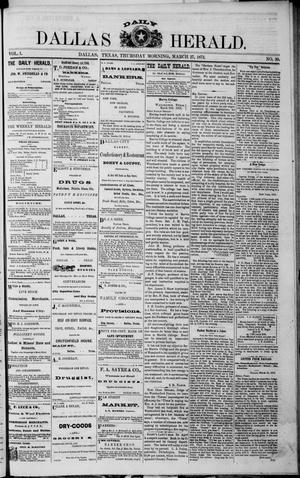 Primary view of object titled 'Dallas Daily Herald (Dallas, Tex.), Vol. 1, Ed. 1 Thursday, March 27, 1873'.