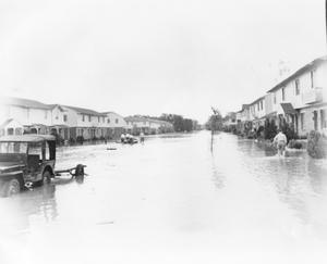 Primary view of object titled '[Photograph of Flooded Street Scene at Carswell]'.