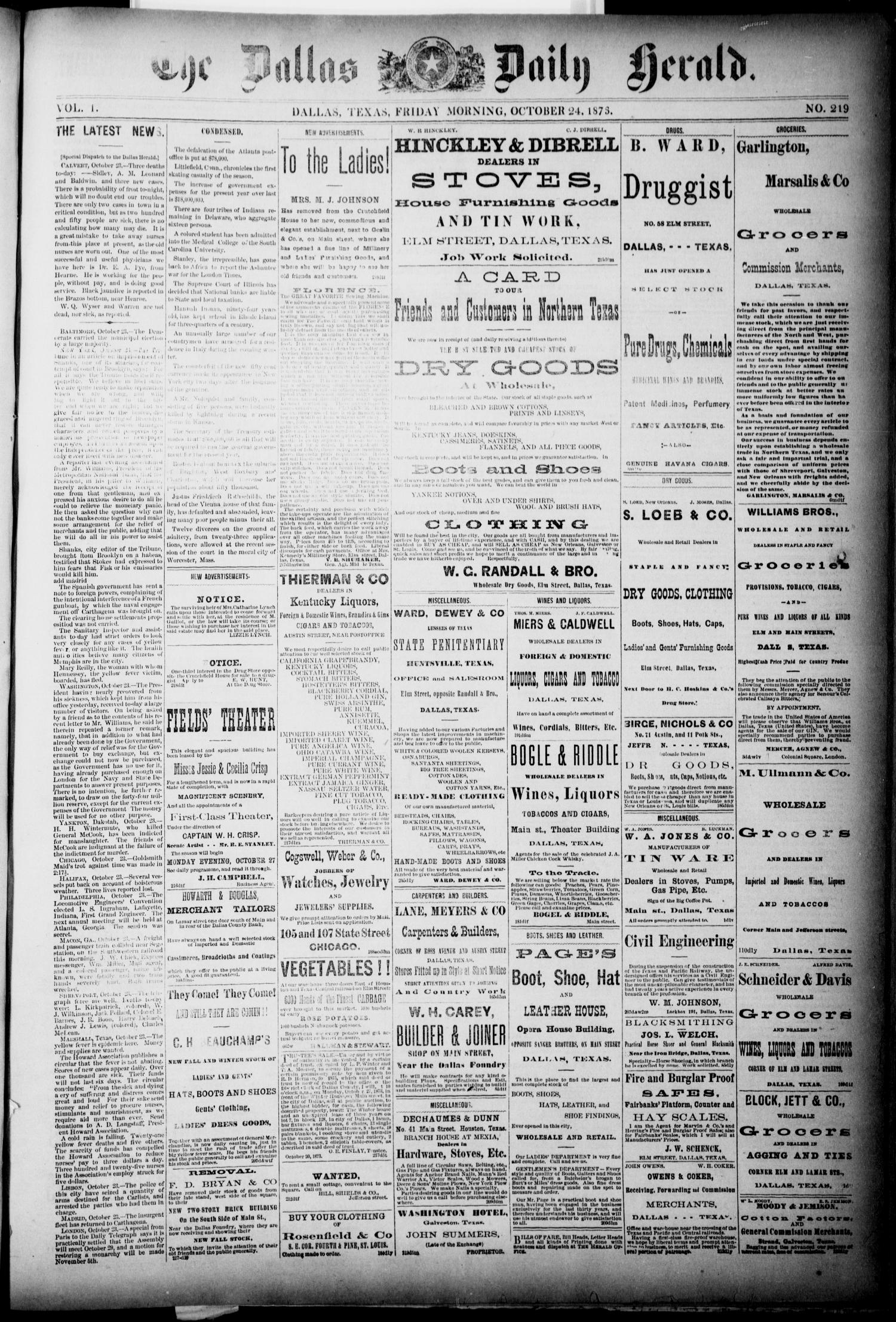 The Dallas Daily Herald. (Dallas, Tex.), Vol. 1, No. 219, Ed. 1 Friday, October 24, 1873                                                                                                      [Sequence #]: 1 of 4