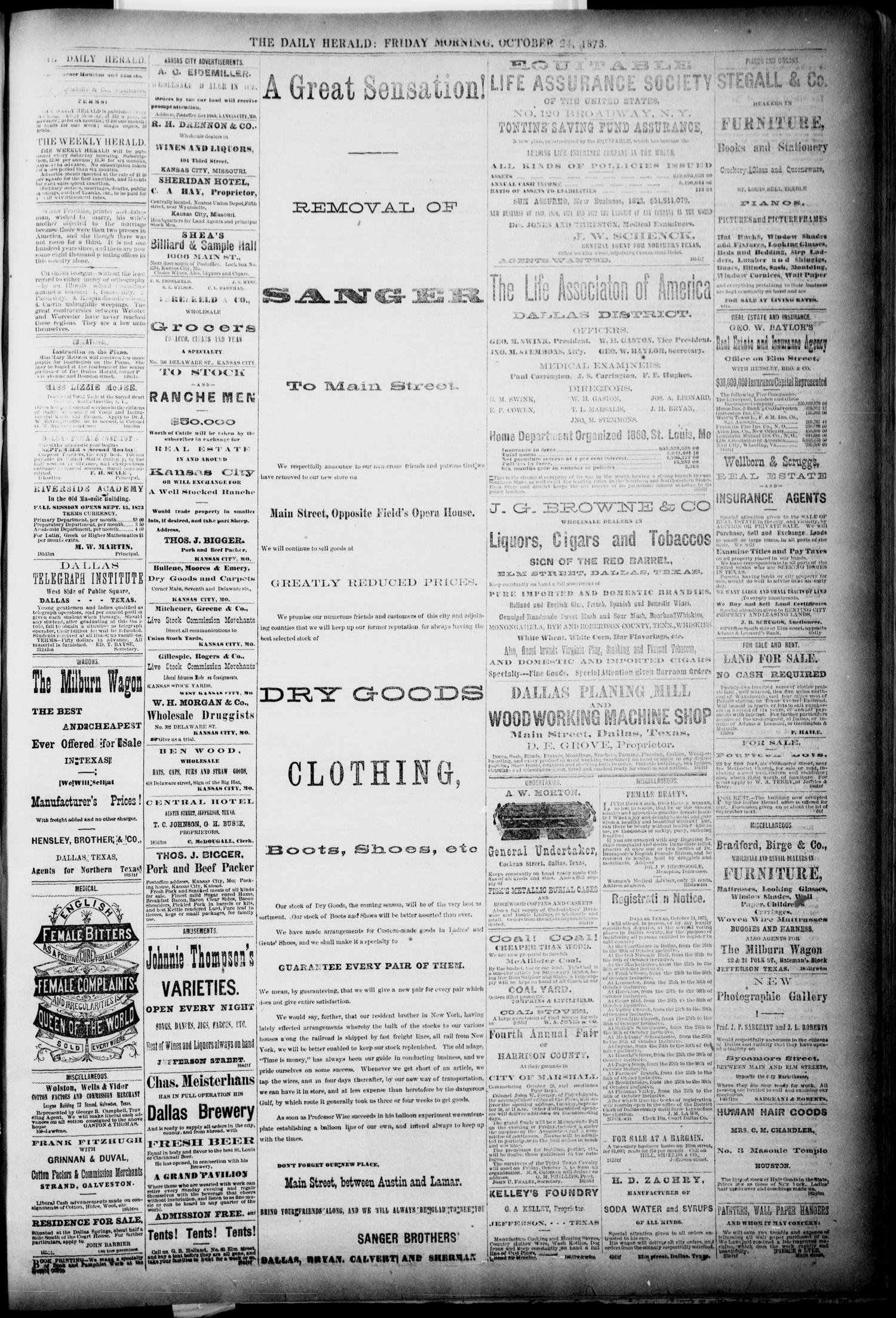 The Dallas Daily Herald. (Dallas, Tex.), Vol. 1, No. 219, Ed. 1 Friday, October 24, 1873                                                                                                      [Sequence #]: 3 of 4