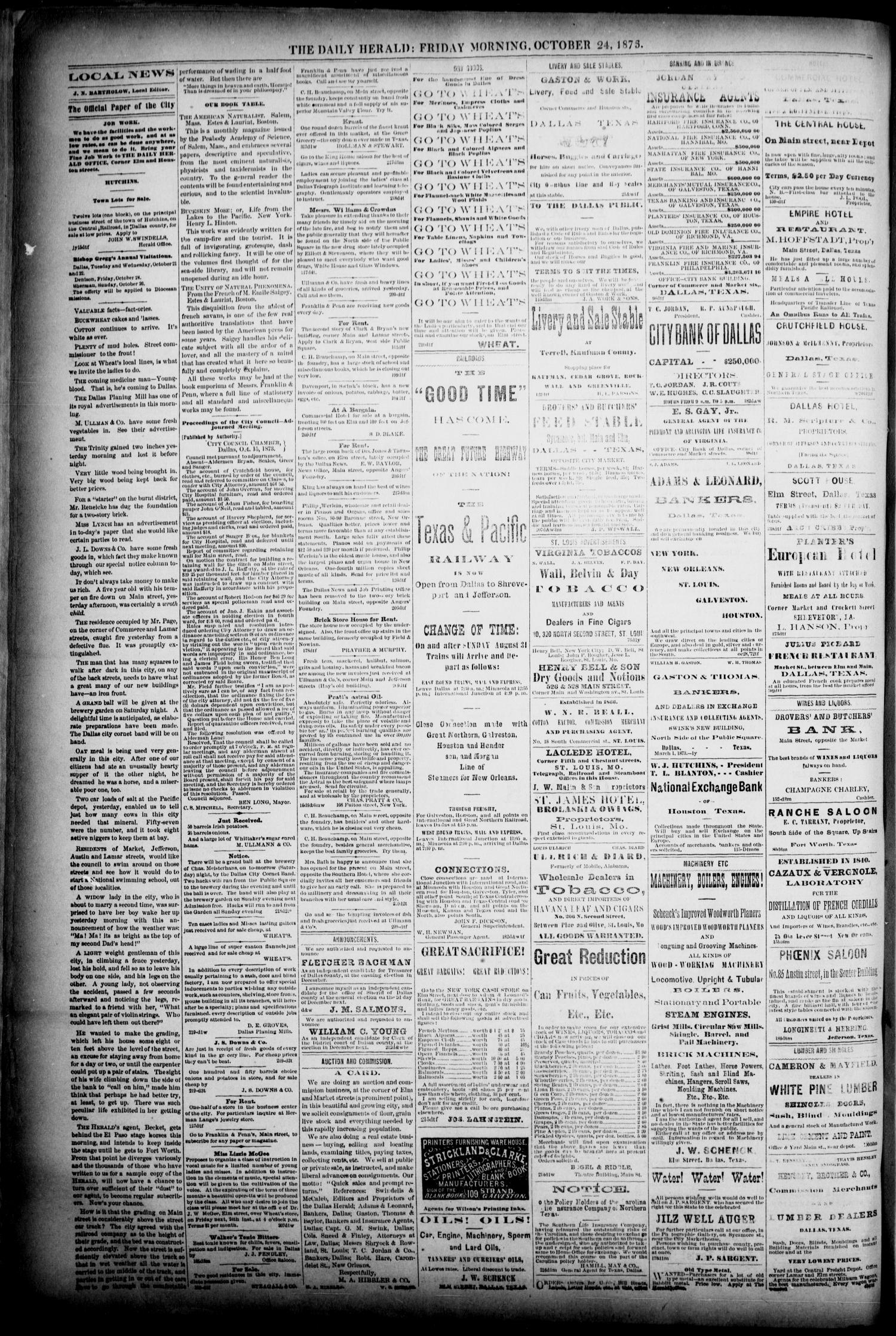 The Dallas Daily Herald. (Dallas, Tex.), Vol. 1, No. 219, Ed. 1 Friday, October 24, 1873                                                                                                      [Sequence #]: 4 of 4
