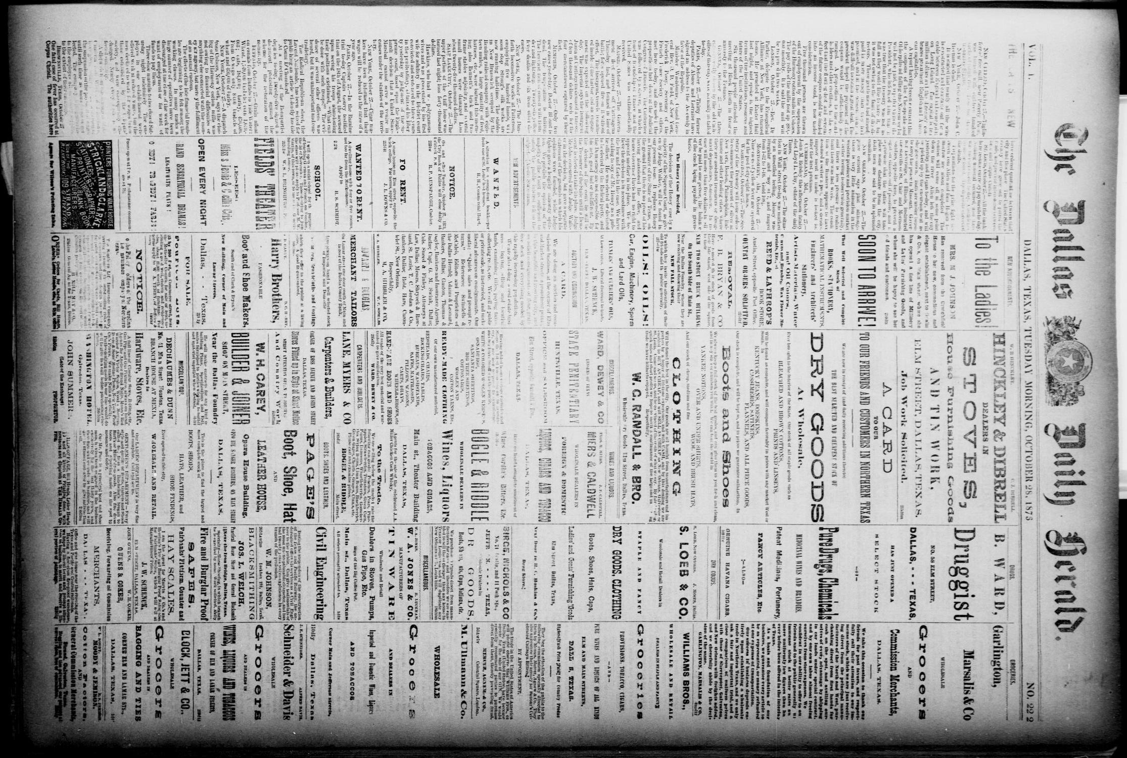 The Dallas Daily Herald. (Dallas, Tex.), Vol. 1, No. 222, Ed. 1 Tuesday, October 28, 1873                                                                                                      [Sequence #]: 1 of 4