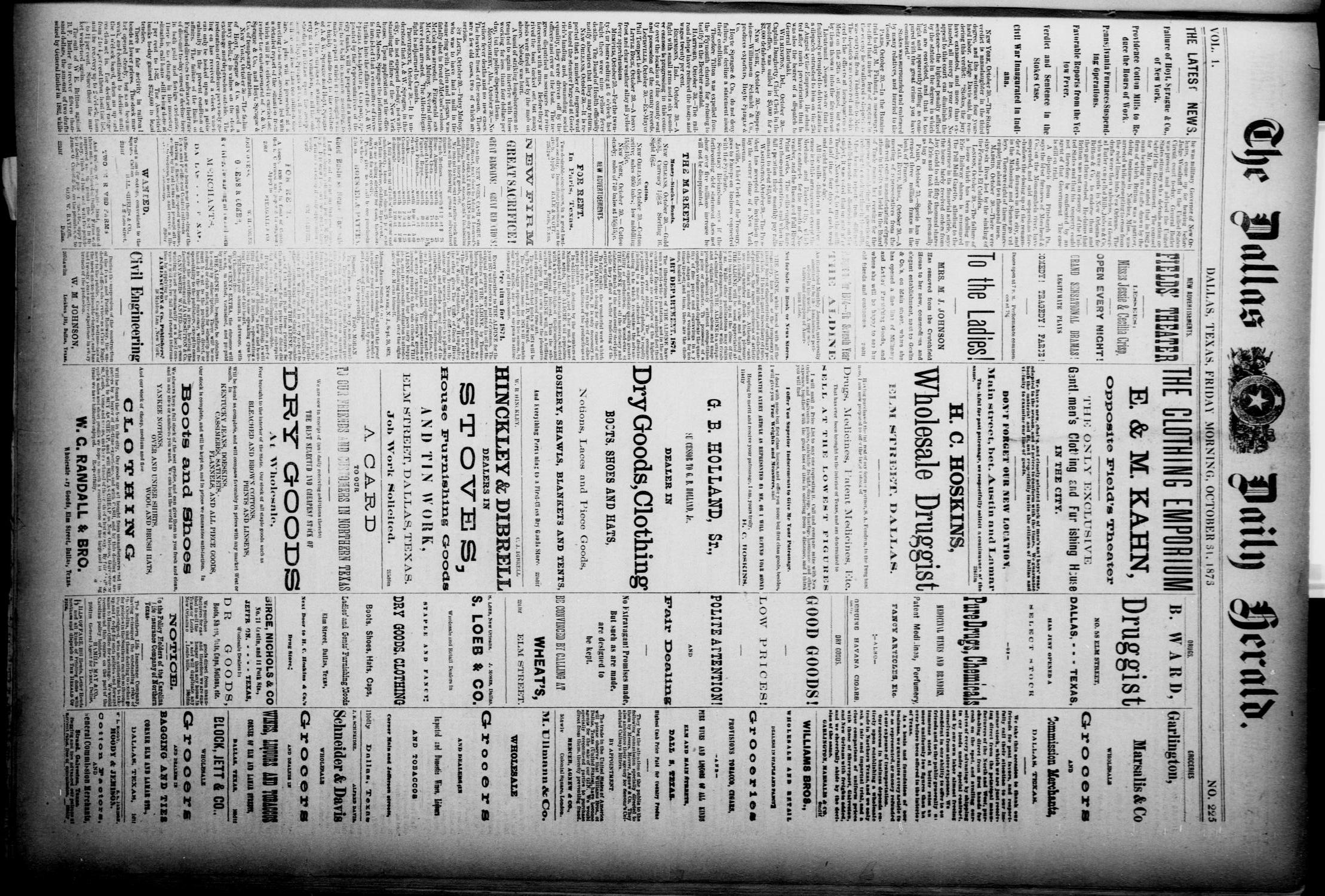 The Dallas Daily Herald. (Dallas, Tex.), Vol. 1, No. 225, Ed. 1 Friday, October 31, 1873                                                                                                      [Sequence #]: 1 of 4