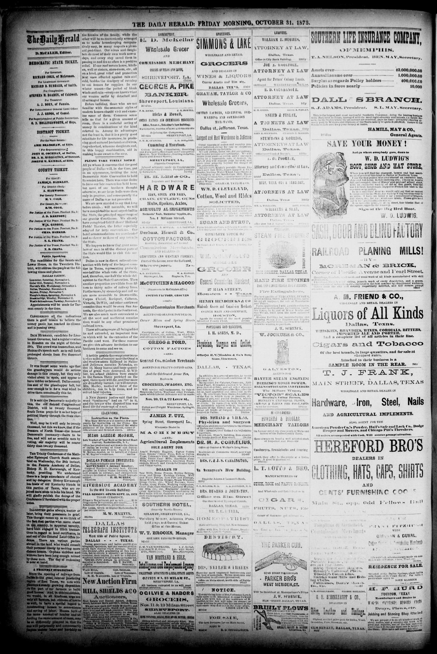 The Dallas Daily Herald. (Dallas, Tex.), Vol. 1, No. 225, Ed. 1 Friday, October 31, 1873                                                                                                      [Sequence #]: 2 of 4