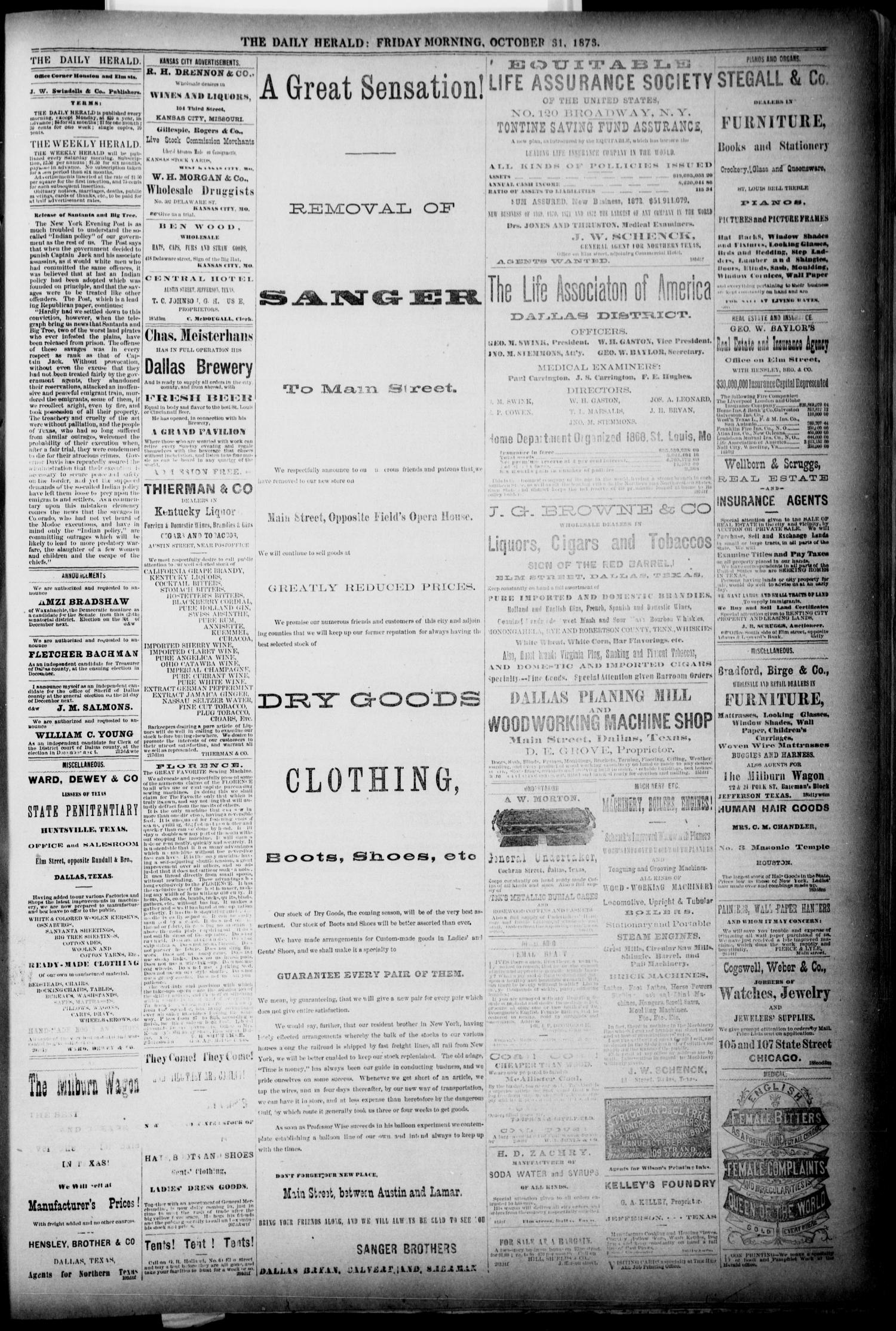 The Dallas Daily Herald. (Dallas, Tex.), Vol. 1, No. 225, Ed. 1 Friday, October 31, 1873                                                                                                      [Sequence #]: 3 of 4