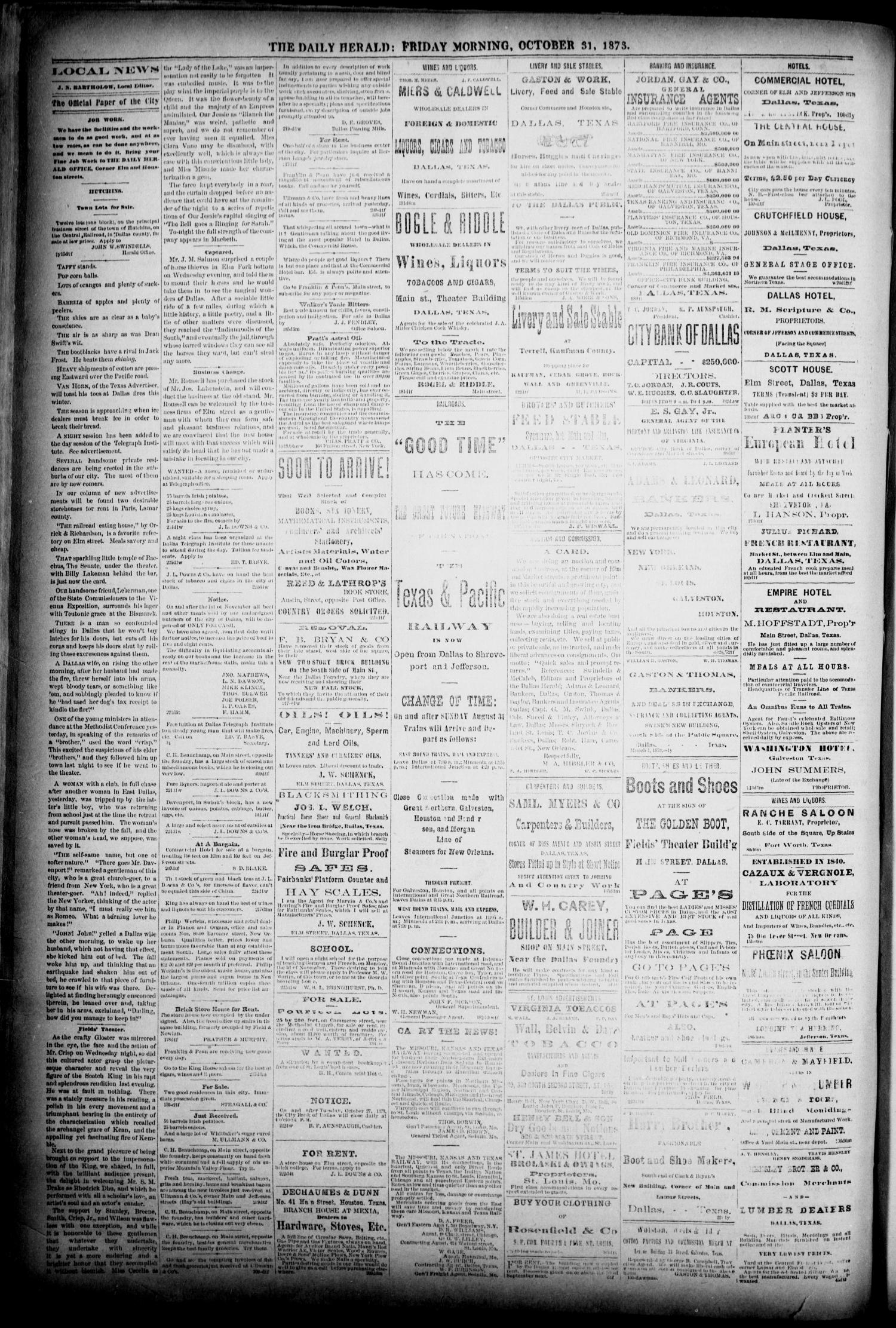 The Dallas Daily Herald. (Dallas, Tex.), Vol. 1, No. 225, Ed. 1 Friday, October 31, 1873                                                                                                      [Sequence #]: 4 of 4