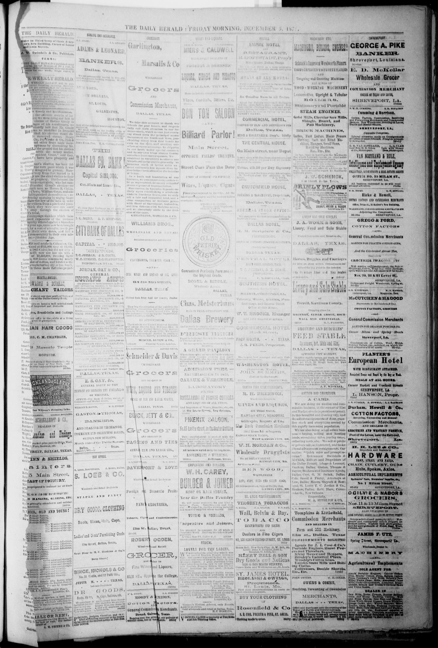 The Dallas Daily Herald. (Dallas, Tex.), Vol. 1, No. 255, Ed. 1 Friday, December 5, 1873                                                                                                      [Sequence #]: 1 of 2