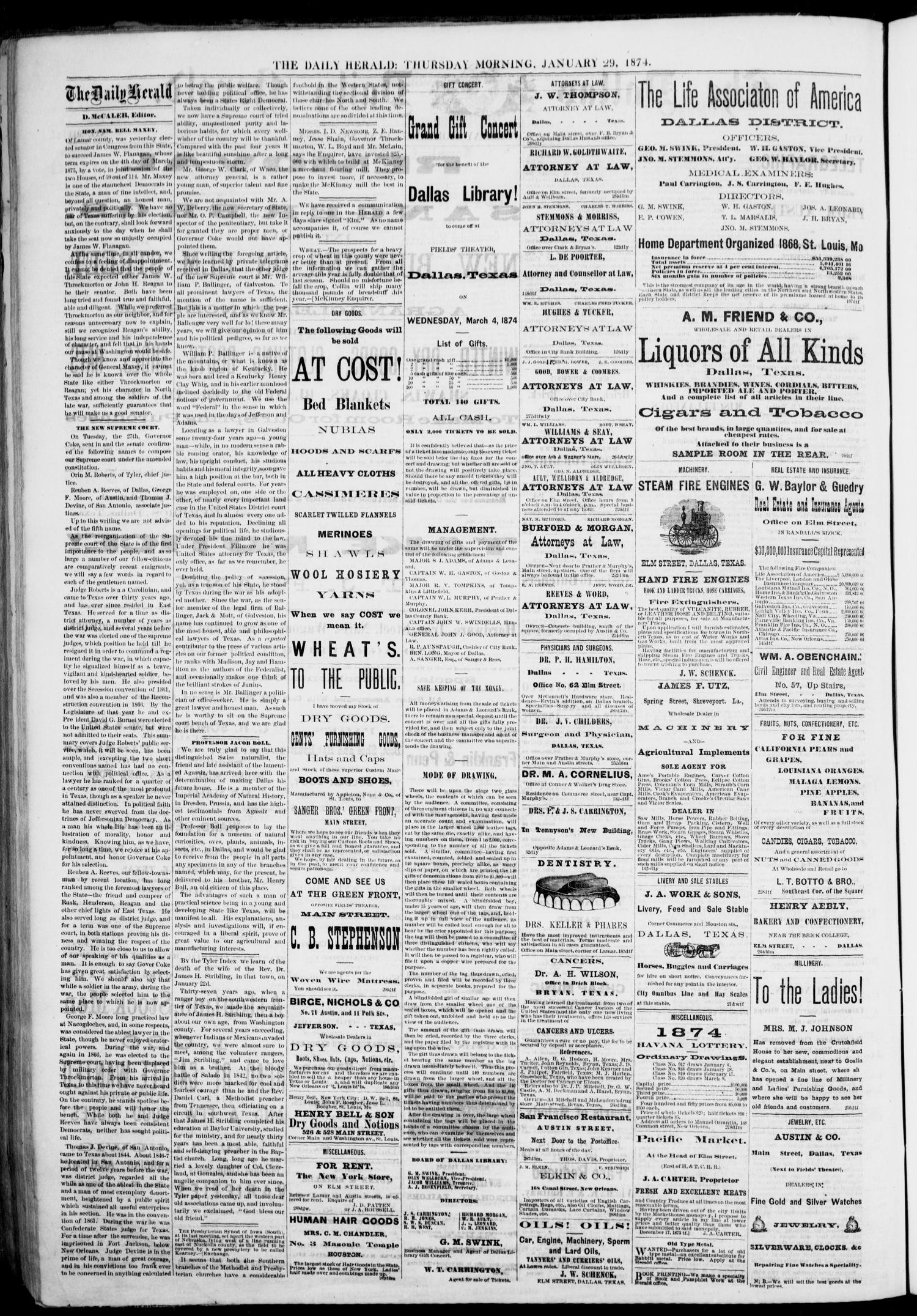 The Dallas Daily Herald Tex Vol 1 No 301 Ed Voucher Deposit Kh Rp 500000 Thursday January 29 1874 Page 2 Of 4 Portal To Texas History