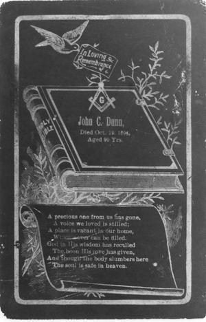 Primary view of object titled 'Cover of a Book in Memory of John C. Dunn'.