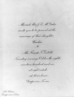 Primary view of object titled 'Frank Estill's and Weechie Yates' Wedding Invitation'.