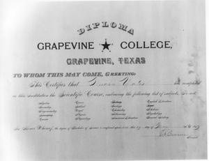 Primary view of object titled 'Grapevine College Diploma'.