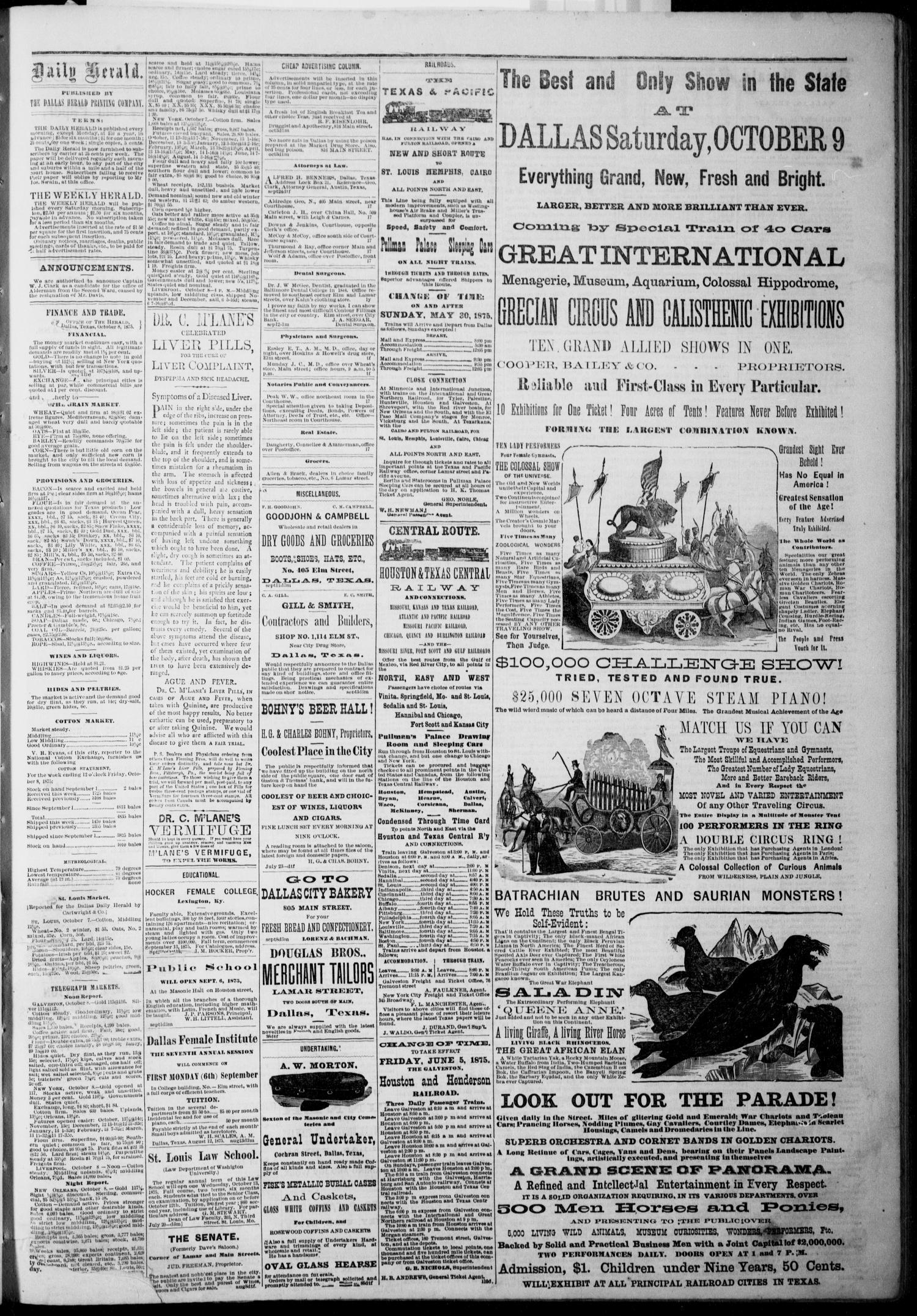 The Dallas Daily Herald Dallas Tex Vol 3 No 204 Ed 1