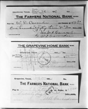 Primary view of object titled 'Printed Checks from Two Grapevine Banks'.