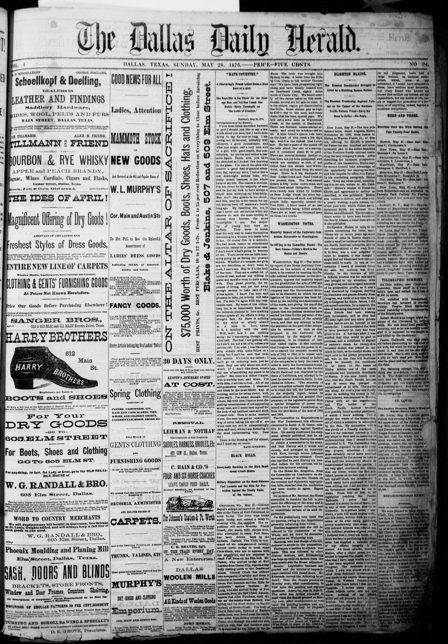 The Dallas Daily Herald. (Dallas, Tex.), Vol. 4, No. 94, Ed. 1 Sunday, May 28, 1876                                                                                                      [Sequence #]: 1 of 4