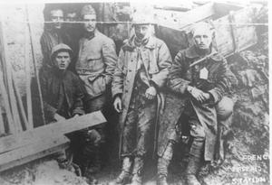 Primary view of object titled 'Wounded Soldiers at French First Aid Station in WWI'.