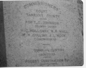 Primary view of object titled 'Cornerstone of the Tarrant County Courthouse'.