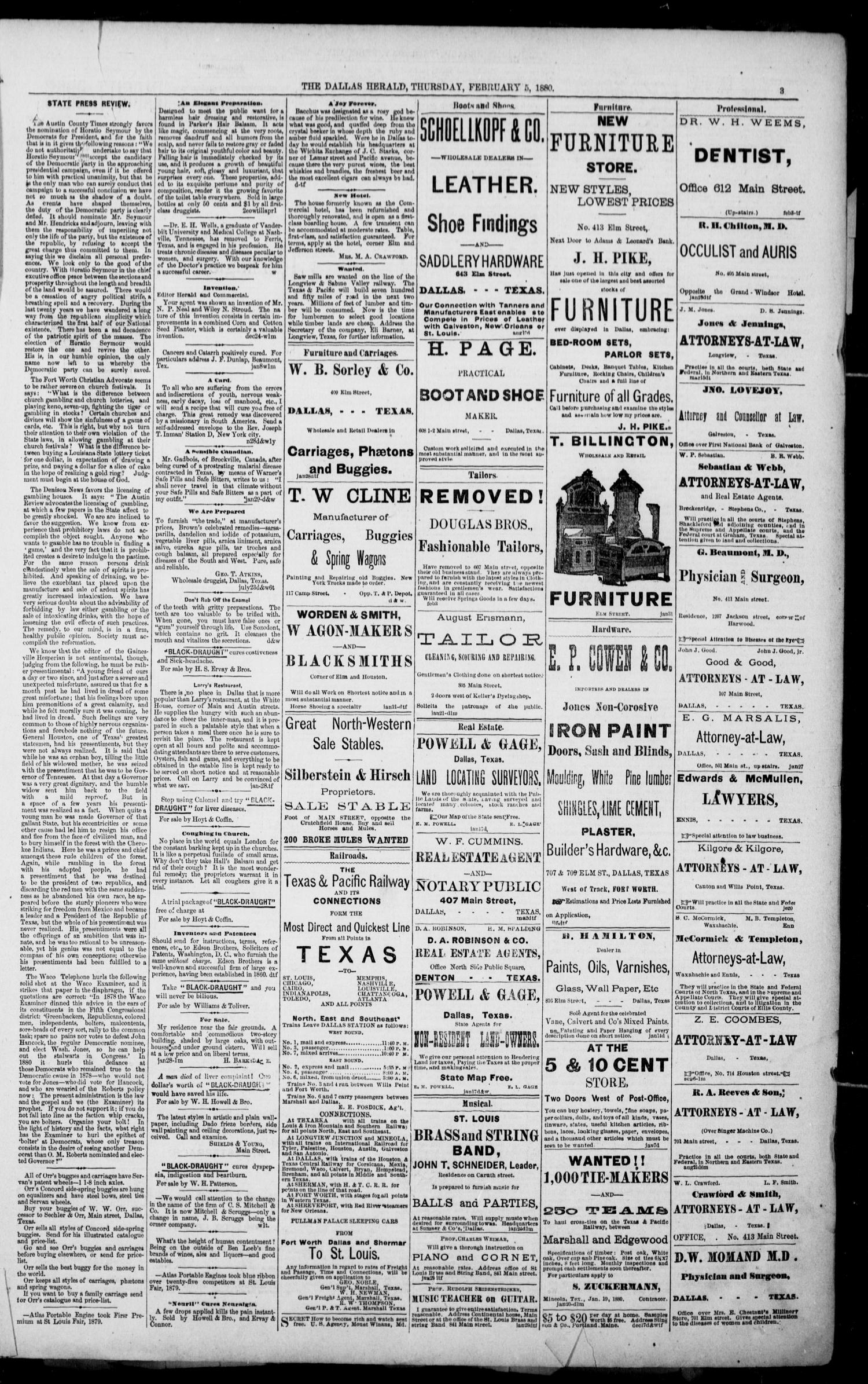 The Dallas Daily Herald. (Dallas, Tex.), Vol. 8, No. 66, Ed. 1 Thursday, February 5, 1880                                                                                                      [Sequence #]: 3 of 8