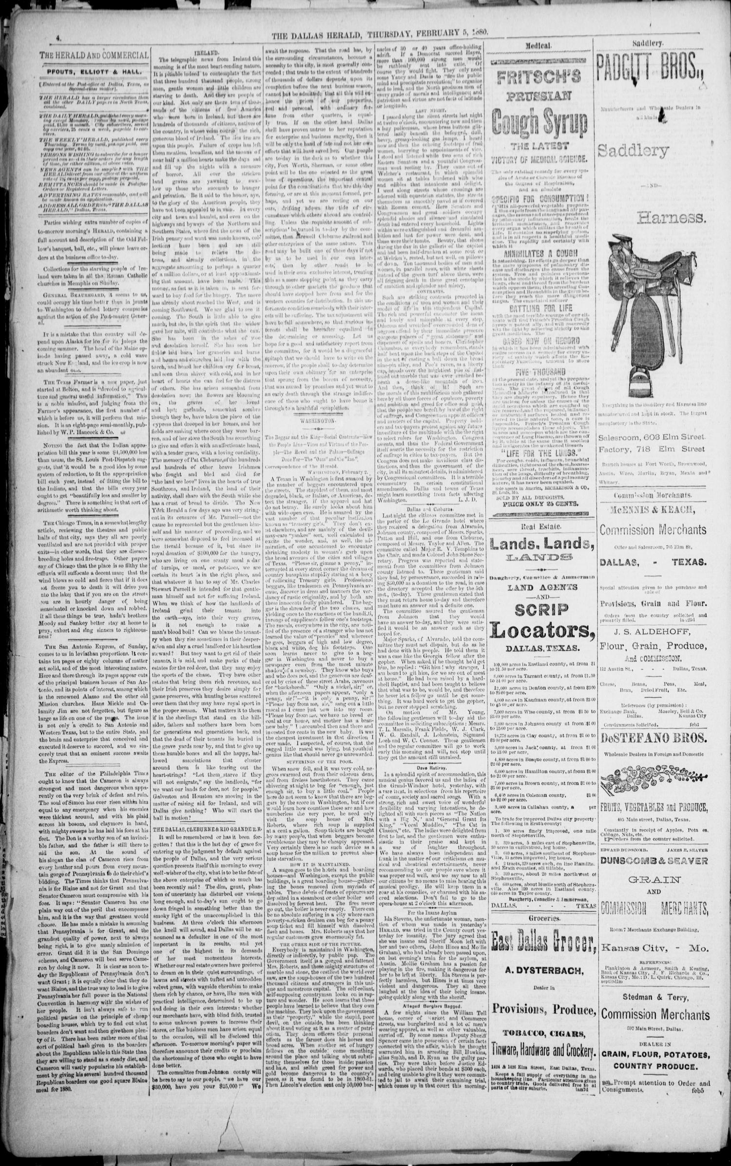 The Dallas Daily Herald. (Dallas, Tex.), Vol. 8, No. 66, Ed. 1 Thursday, February 5, 1880                                                                                                      [Sequence #]: 4 of 8