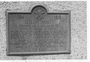 Primary view of object titled 'Bronze Plaque Commemorating the Organization of Tarrant County'.