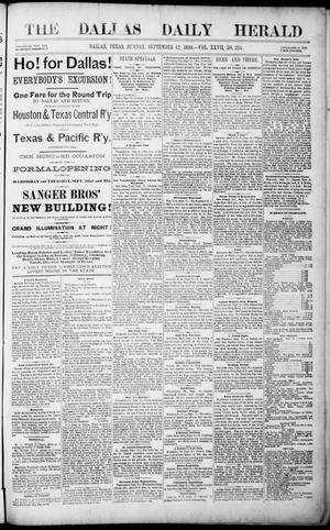 Primary view of object titled 'The Dallas Daily Herald. (Dallas, Tex.), Vol. 27, No. 254, Ed. 1 Sunday, September 12, 1880'.