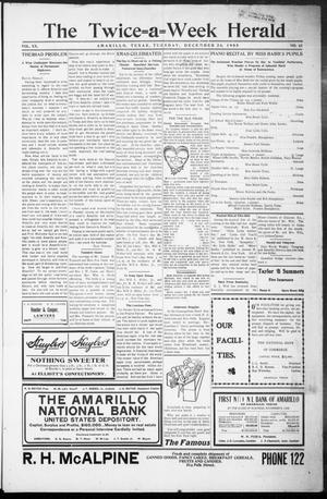 Primary view of object titled 'The Twice-a-Week Herald. (Amarillo, Tex.), Vol. 20, No. 51, Ed. 1 Tuesday, December 26, 1905'.