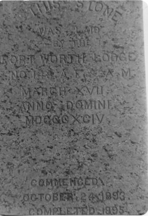Primary view of object titled 'Cornerstone of Fort Worth Masonic Lodge 148'.