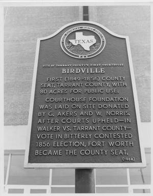 Primary view of object titled 'Texas Historical Marker for Birdville'.