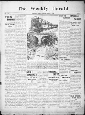 Primary view of object titled 'The Weekly Herald. (Amarillo, Tex.), Vol. 23, No. 10, Ed. 1 Thursday, March 5, 1908'.
