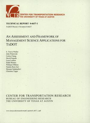 Primary view of object titled 'An Assessment and Framework f Management Science Applications for TxDOT'.
