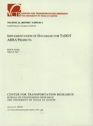 Primary view of object titled 'Implementation of Database for TxDOT ARRA Projects'.