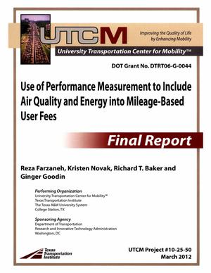 Use of performance measurement to include air quality and energy into mileage-based user fees