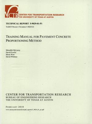 Primary view of object titled 'Training Manual for Pavement Concrete Proportioning Method'.