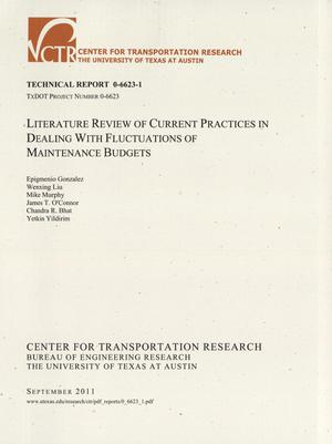 Primary view of object titled 'Literature review of current practices in dealing with fluctuations of maintenance budgets'.