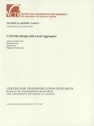Primary view of object titled 'CAM mix design with local aggregates'.