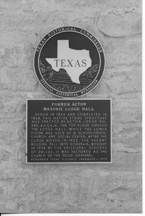 Primary view of object titled 'Historical Marker for the Former Acton Masonic Lodge Hall'.