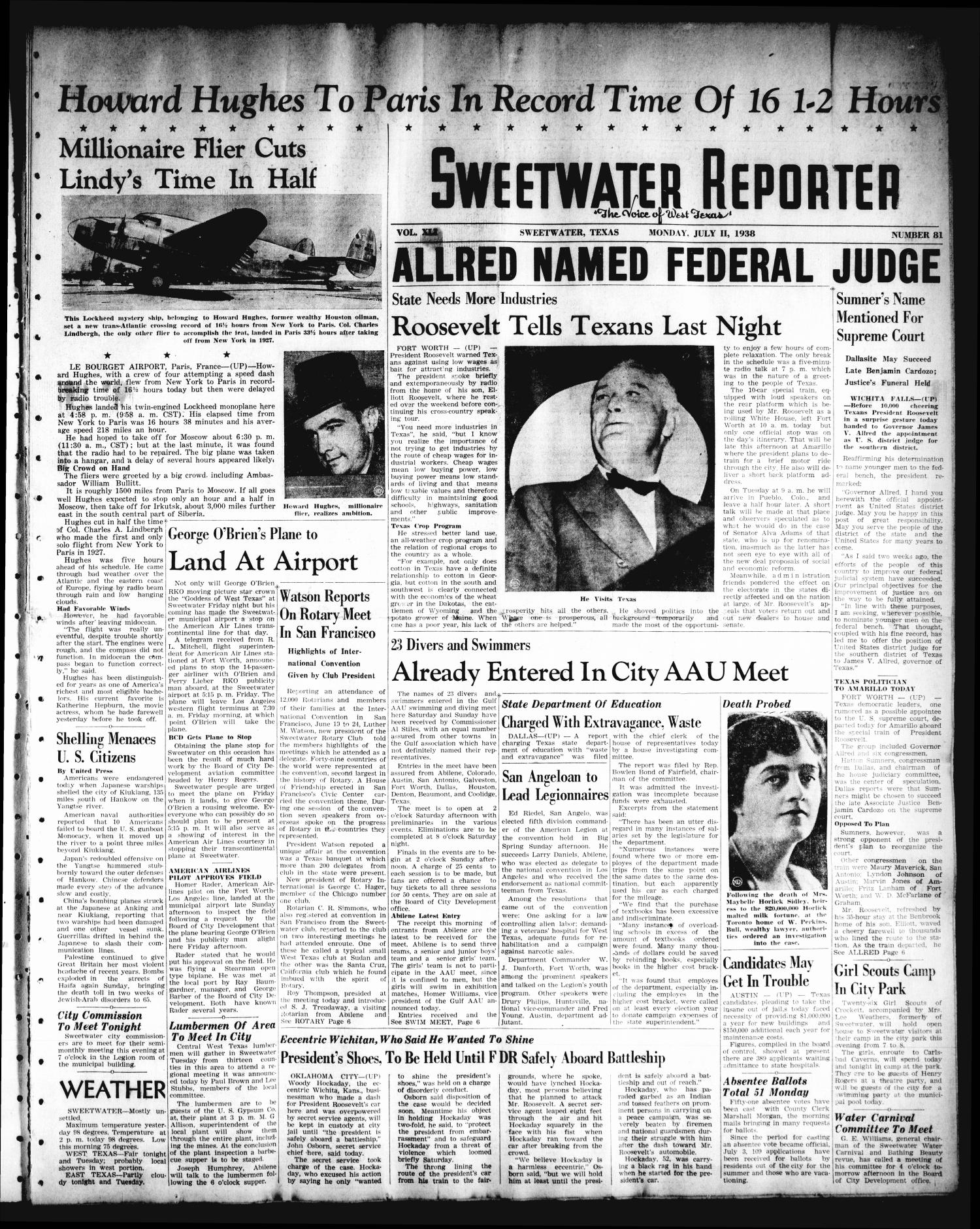 Sweetwater Reporter (Sweetwater, Tex.), Vol. 41, No. 84, Ed. 1 Monday, July 11, 1938                                                                                                      [Sequence #]: 1 of 6