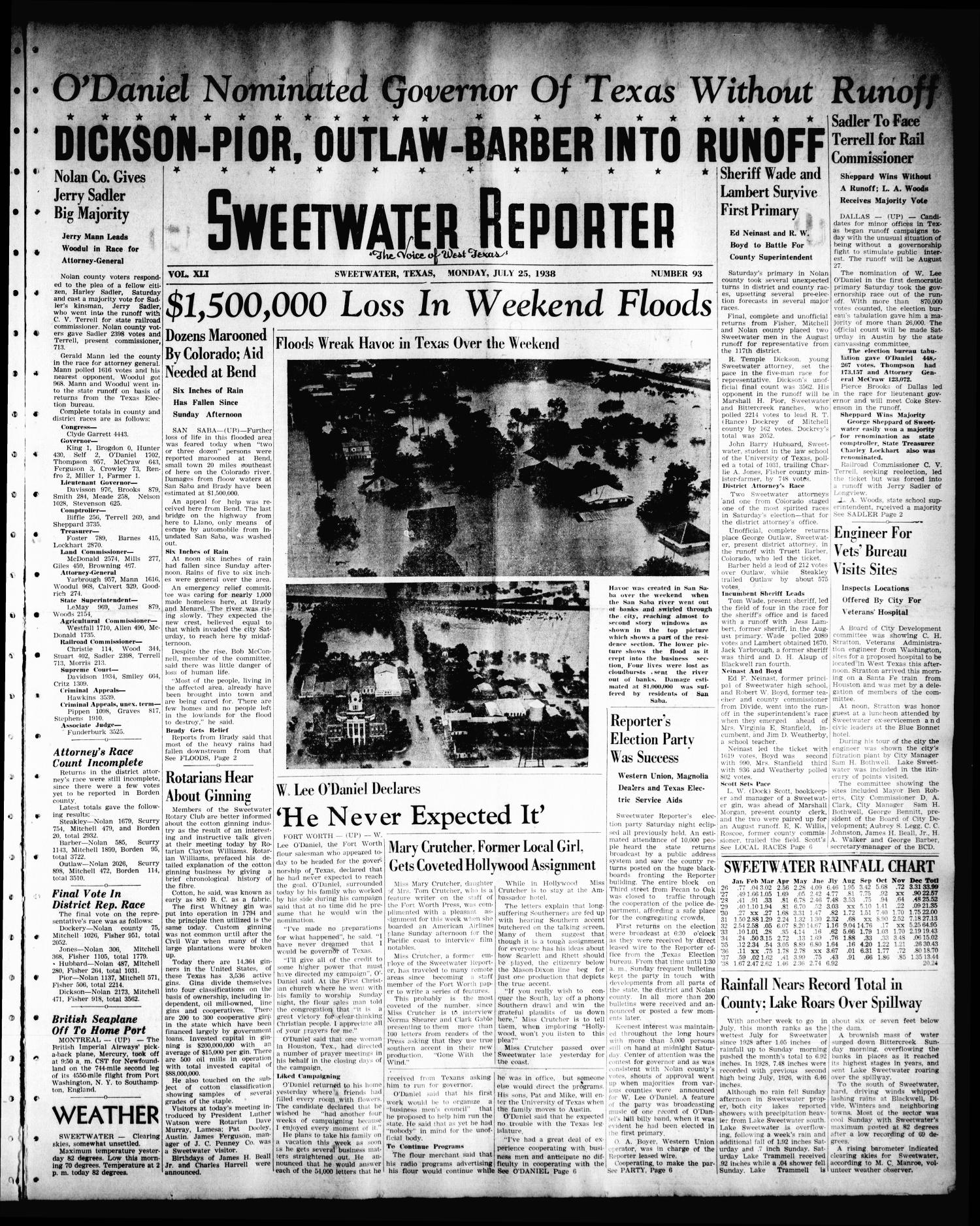Sweetwater Reporter (Sweetwater, Tex.), Vol. 41, No. 96, Ed. 1 Monday, July 25, 1938                                                                                                      [Sequence #]: 1 of 6