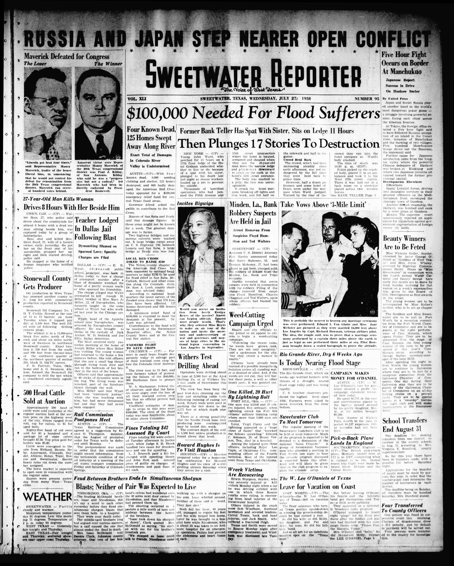 Sweetwater Reporter (Sweetwater, Tex.), Vol. 41, No. 98, Ed. 1 Wednesday, July 27, 1938                                                                                                      [Sequence #]: 1 of 6