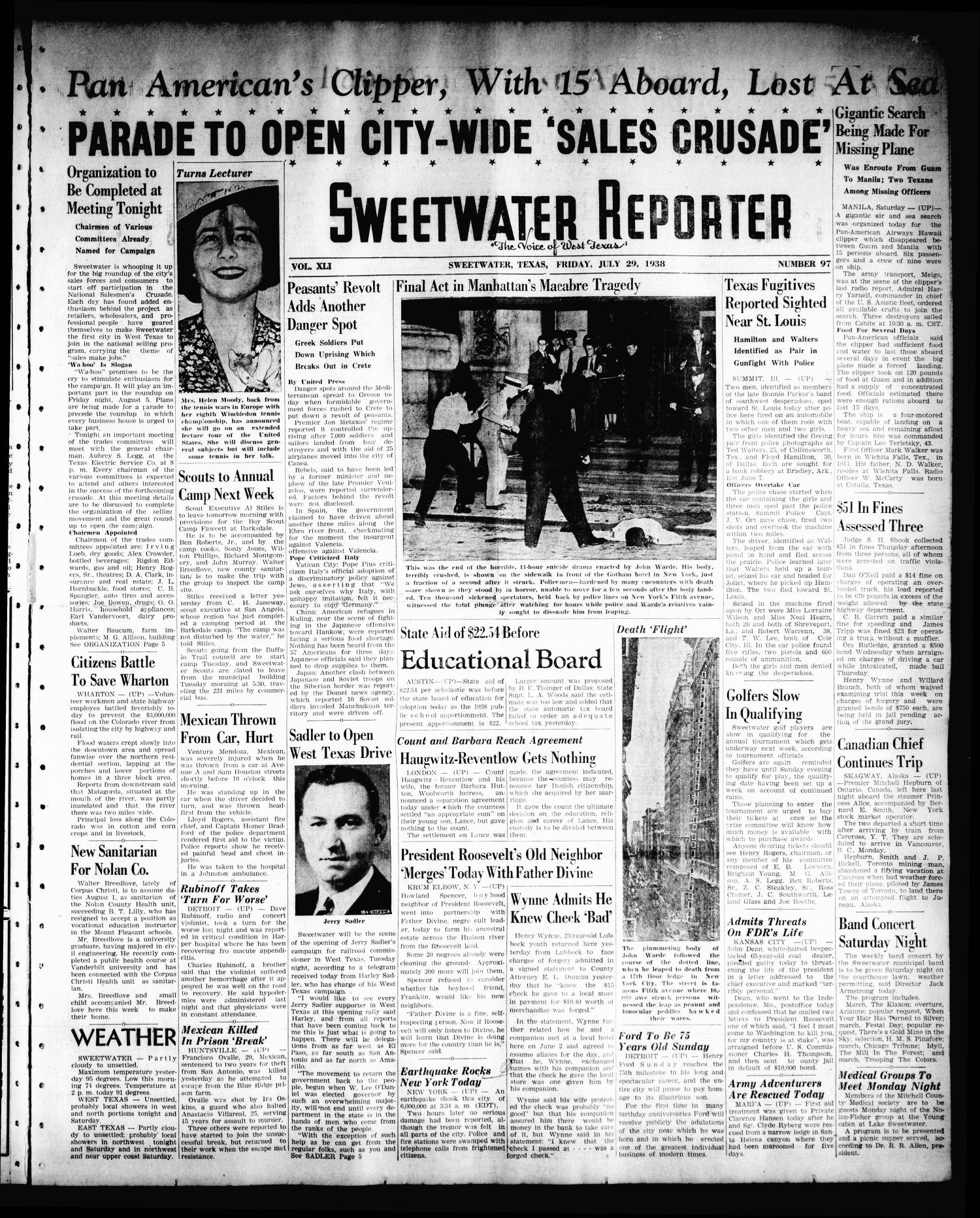 Sweetwater Reporter (Sweetwater, Tex.), Vol. 41, No. 100, Ed. 1 Friday, July 29, 1938                                                                                                      [Sequence #]: 1 of 8
