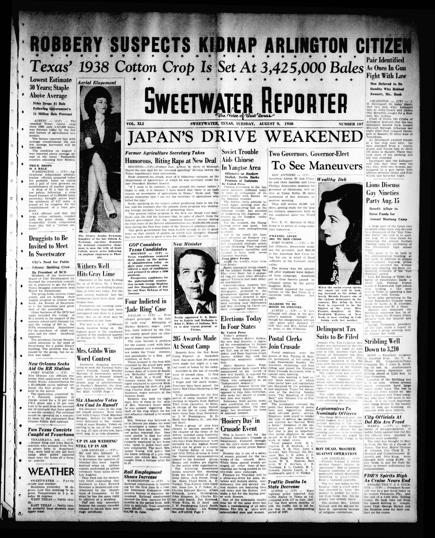 Sweetwater Reporter (Sweetwater, Tex.), Vol. 41, No. 109, Ed. 1 Tuesday, August 9, 1938                                                                                                      [Sequence #]: 1 of 6