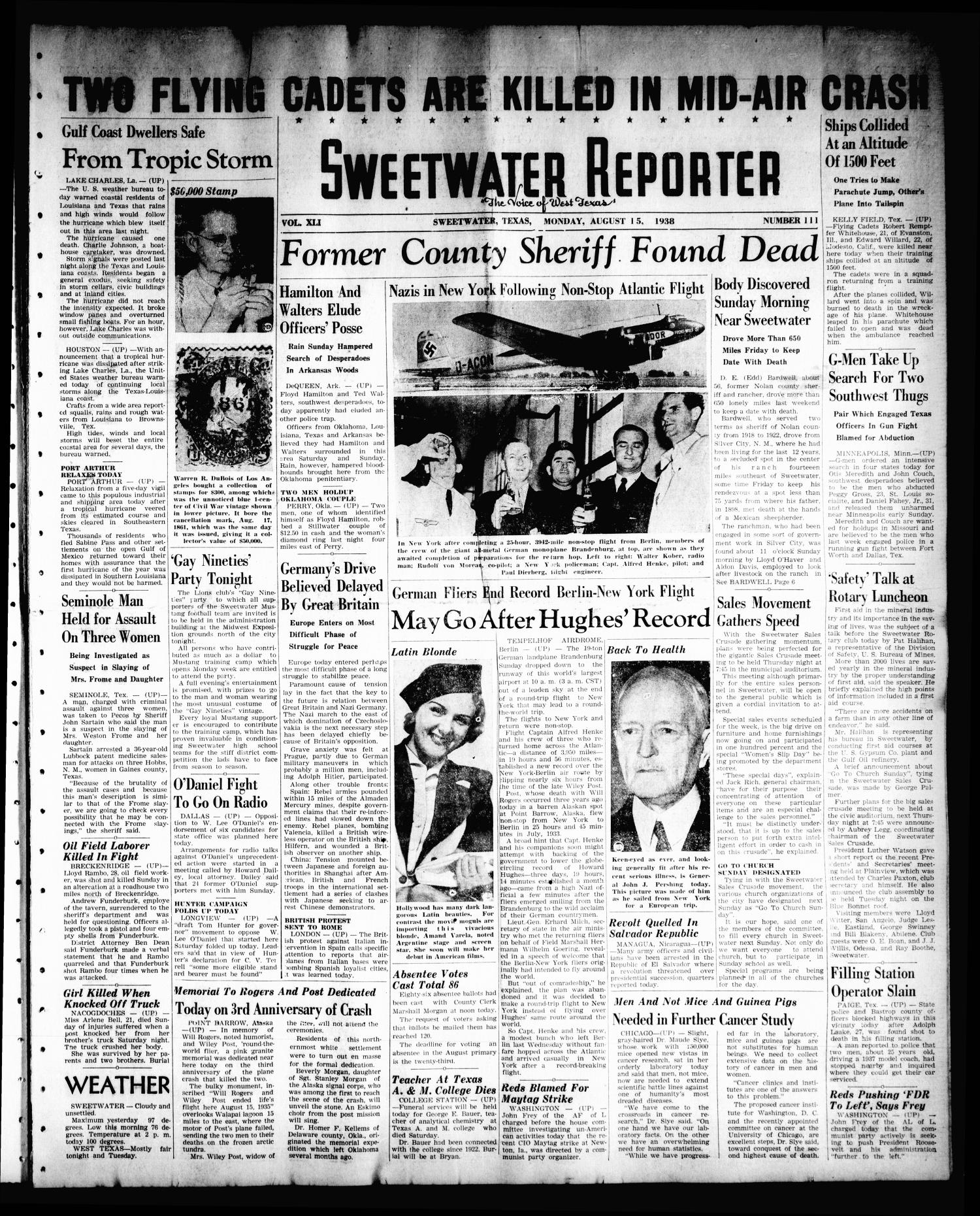 Sweetwater Reporter (Sweetwater, Tex.), Vol. 41, No. 114, Ed. 1 Monday, August 15, 1938                                                                                                      [Sequence #]: 1 of 8