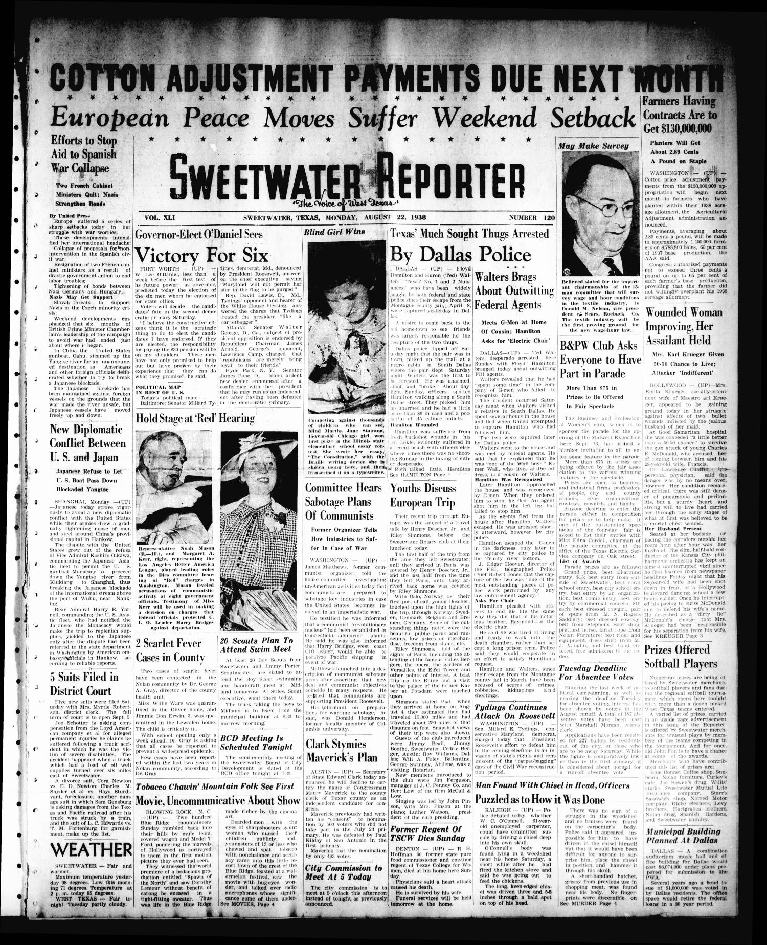 Sweetwater Reporter (Sweetwater, Tex.), Vol. 41, No. 120, Ed. 1 Monday, August 22, 1938                                                                                                      [Sequence #]: 1 of 6