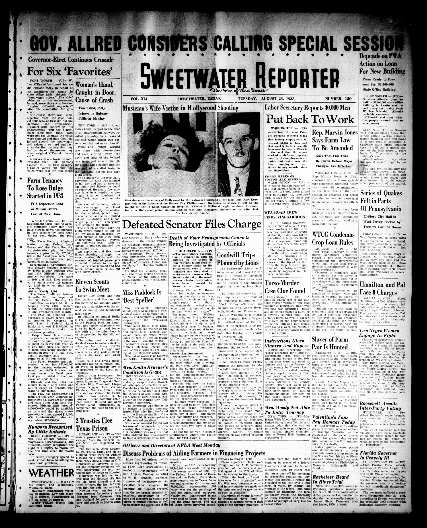 Sweetwater Reporter (Sweetwater, Tex.), Vol. 41, No. 121, Ed. 1 Tuesday, August 23, 1938                                                                                                      [Sequence #]: 1 of 6