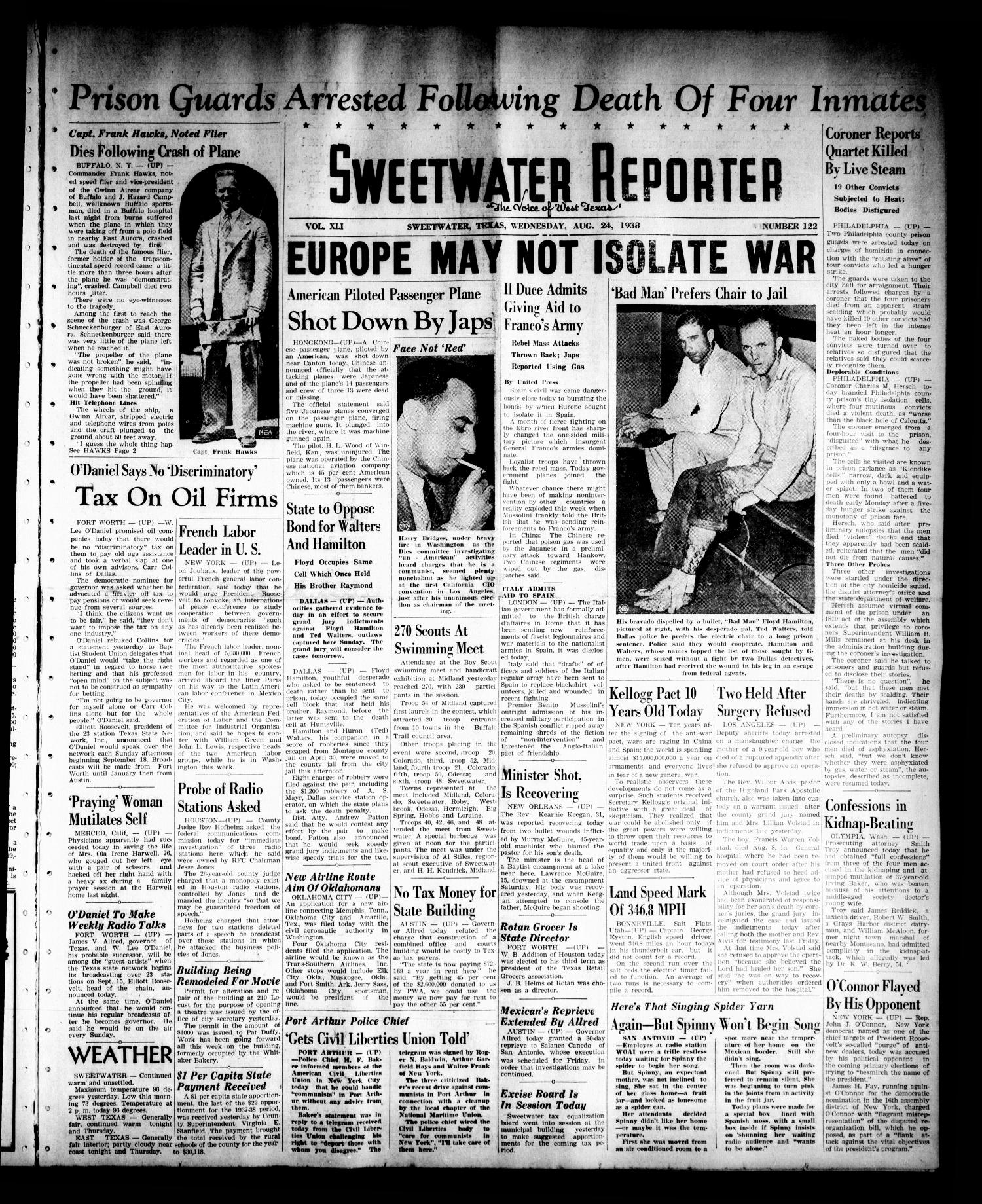 Sweetwater Reporter (Sweetwater, Tex.), Vol. 41, No. 122, Ed. 1 Wednesday, August 24, 1938                                                                                                      [Sequence #]: 1 of 6