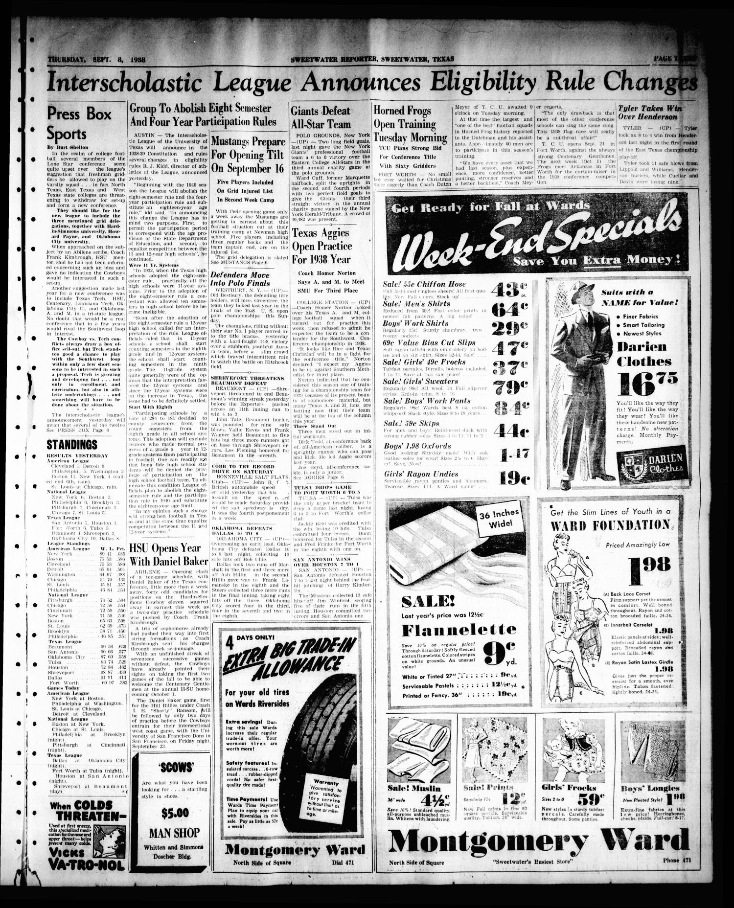 Sweetwater Reporter (Sweetwater, Tex.), Vol. 41, No. 131, Ed. 1 Thursday, September 8, 1938                                                                                                      [Sequence #]: 3 of 8