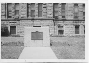 Primary view of object titled 'Historical Marker for Tarrant County in Front of the Tarrant County Courthouse'.