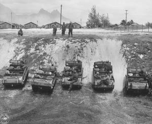 Primary view of object titled 'Amphibious Vehicles During Maneuvers on Oahu in World War II'.
